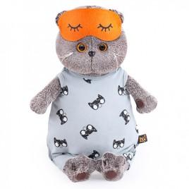 Кот Басик в сером комбинезоне и маске для сна, 25 см