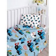 Комплект постельного белья для малышей Синий трактор